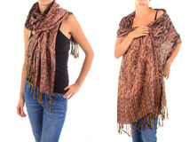 Stylish Feminine Scarf with Oriental Pattern Royalty Free Stock Image