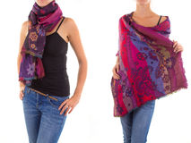Stylish Feminine Scarf with Oriental Pattern Stock Image