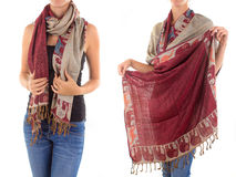 Stylish Feminine Scarf with Oriental Pattern Royalty Free Stock Images