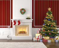 Stylish fireplace decorated for. Traditional and stylish interior with fireplace, christmas tree, presents and stockings Royalty Free Stock Photo