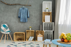 Stylish flat with DIY storage solutions Stock Photography