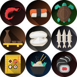 Stylish flat icons collection for seafood Royalty Free Stock Image