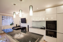 Stylish flat - Kitchen and dining room Stock Photo