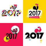 Stylish flat vector illustration of fire cock as symbol of 2017. Year on the Chinese calendar. New Year design with silhouette of red rooster Royalty Free Stock Images