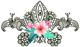 Stylish floral background, hand drawn doodle floral element Stock Photography