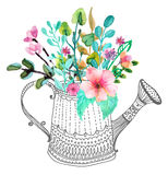 Stylish floral background, hand drawn flowers Royalty Free Stock Photography