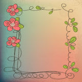 Stylish floral background, hand drawn retro flowers and birds Royalty Free Stock Images
