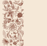 Stylish floral card, hand drawn flowers Stock Photo