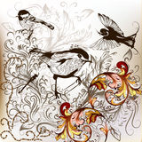 Stylish floral hand drawn background with birds and ornaments Royalty Free Stock Image