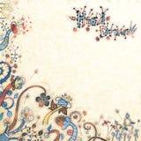 Stylish floral hand drawn background. Stylish floral background, hand drawn retro flowers and plants Stock Illustration