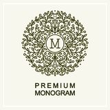 Stylish floral monogram  , line art Royalty Free Stock Images