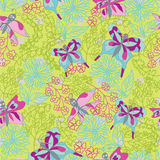 Stylish floral seamless pattern with Doodles butterflies Royalty Free Stock Photo