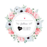 Stylish floral vector design frame. Anemone, rose, pink flowers. Royalty Free Stock Image