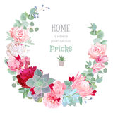 Stylish floral vector design round frame. Royalty Free Stock Photo