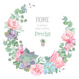 Stylish floral vector design round frame. Rose, camellia, pink flowers, echeveria, protea, eucaliptus leaves Stock Photos