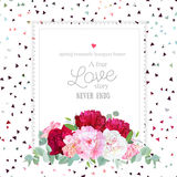 Stylish floral vector design square frame. Peony, alstroemeria lily, eucaliptus. Pink, white and burgundy red flowers. Funky triangle confetti mix on backdrop Stock Photos