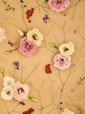 Stylish flowers pattern. Composition of garden flowers in a trendy pastel style Royalty Free Stock Image