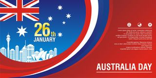 Stylish flyer, with Australia Flag Style and wave design. With simple, elegant and stylish design, suitable for Happy Australia day 26 january festive vector illustration