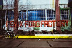 Stylish food factory in Rotterdam. Bycicle and nobody stock photo