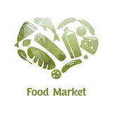 Stylish Food Market Poster. With text and different green colored products vector illustration Stock Image