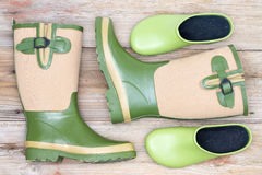 Stylish footwear for a fashionable gardener Stock Images