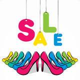 Stylish footwear sale banner design Stock Photos