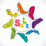 Stylish footwear sale banner design Stock Photo