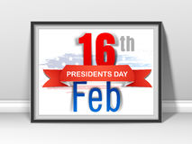 Stylish frame for American Presidents Day celebration. Presidents Day celebration frame with shiny text 16th Feb and blue ribbon on American Flag color stock illustration