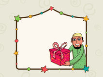 Stylish frame with Muslim man for Eid celebration. Stylish colorful stars decorated blank frame with illustration of a young Muslim man holding gift on occasion Stock Photos
