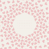 Stylish frame with pink hearts Royalty Free Stock Photos