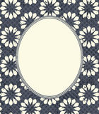 Stylish frame with retro flowers. Oval frame with stylish flowers. Retro Frame with decorative floral ornament and tender color design for greeting card Royalty Free Stock Photo