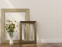 Stylish frames and bunch of flowers in interior Royalty Free Stock Images