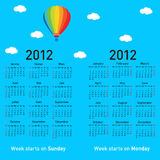 Stylish French calendar. With balloon and clouds for 2012. In French and English royalty free illustration