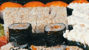 Stylish fresh sushi set with various kinds of sushi rolls, close up. View stock footage