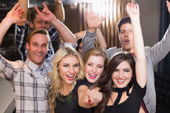 Stylish friends dancing and smiling Royalty Free Stock Images