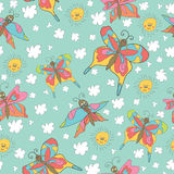 Stylish fun seamless pattern with butterflies,sun, clouds Doodle Royalty Free Stock Images