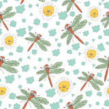Stylish fun seamless pattern with dragonfly,sun, clouds Doodles Royalty Free Stock Image