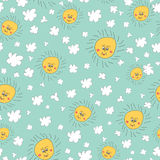 Stylish fun seamless pattern with  sky,sun, clouds Doodles Stock Photography