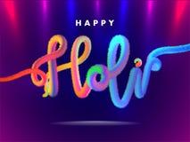 Stylish furry text Holi on glossy purple background. royalty free illustration