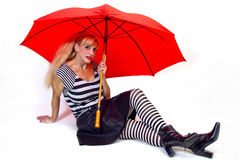 Stylish Gal and Red Umbrella Royalty Free Stock Photo