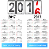 Stylish German calendar for 2017. Royalty Free Stock Image