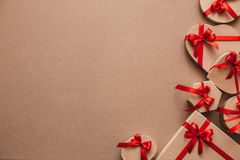 Stylish gifts with red ribbons. Stock Images