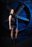 Stylish girl against grunge background Royalty Free Stock Photography