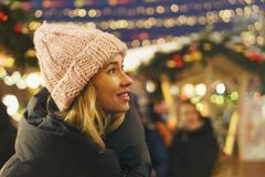 Free Stylish Girl At The Christmas Market Stock Image - 160790941