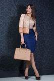 Stylish girl with a bag Royalty Free Stock Photography