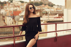 Stylish girl in black clothes Royalty Free Stock Photo