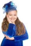 Stylish girl in a blue velvet dress Stock Images