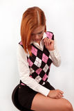 Stylish girl with is bright-red hair Stock Images