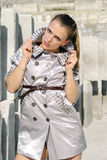 Stylish girl on a building site Royalty Free Stock Photo
