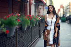 Stylish girl in city Stock Photo